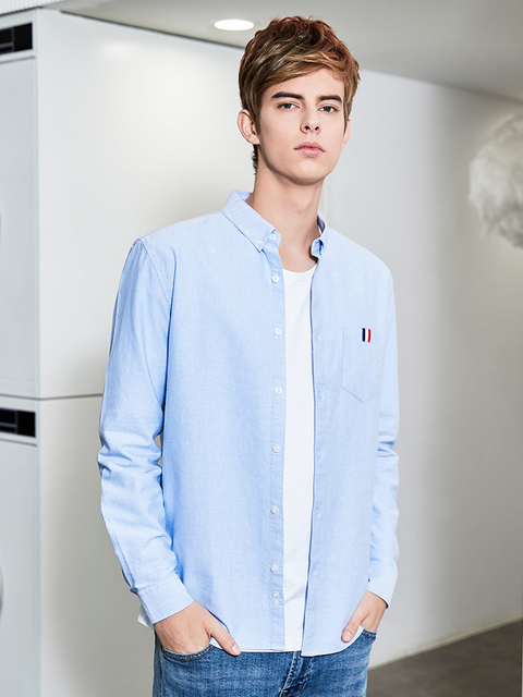 Pioneer Camp Men Long Sleeve Solid Oxford Dress Shirt with Left Chest Pocket High-quality Male Casual Regular-fit Tops ACC901193