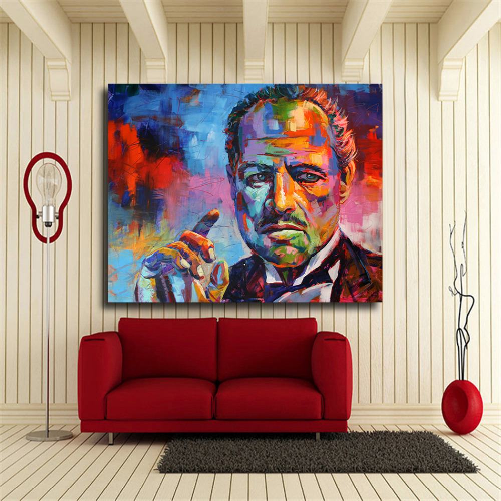 Abstract Figure Painting Colorful Godfather Modern Canvas Print Art Wall Pictures For Living Room Home Decor Print Artwork in Painting Calligraphy from Home Garden