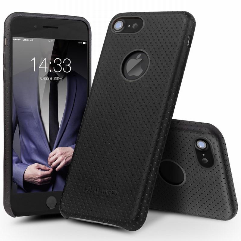 imágenes para QIALINO para el iphone 7 Teléfono Caso Ultra Fino de Moda de Cuero Genuino cubierta para el iphone 7 más Nuevo de Lujo de Vuelta para 4.7/5.5 pulgadas