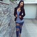 Namorado moda Jeans mulheres 2016 verão rasgado Jeans assimétrico grandes buracos Jeans lápis calças Jeans calças Femme Mujer