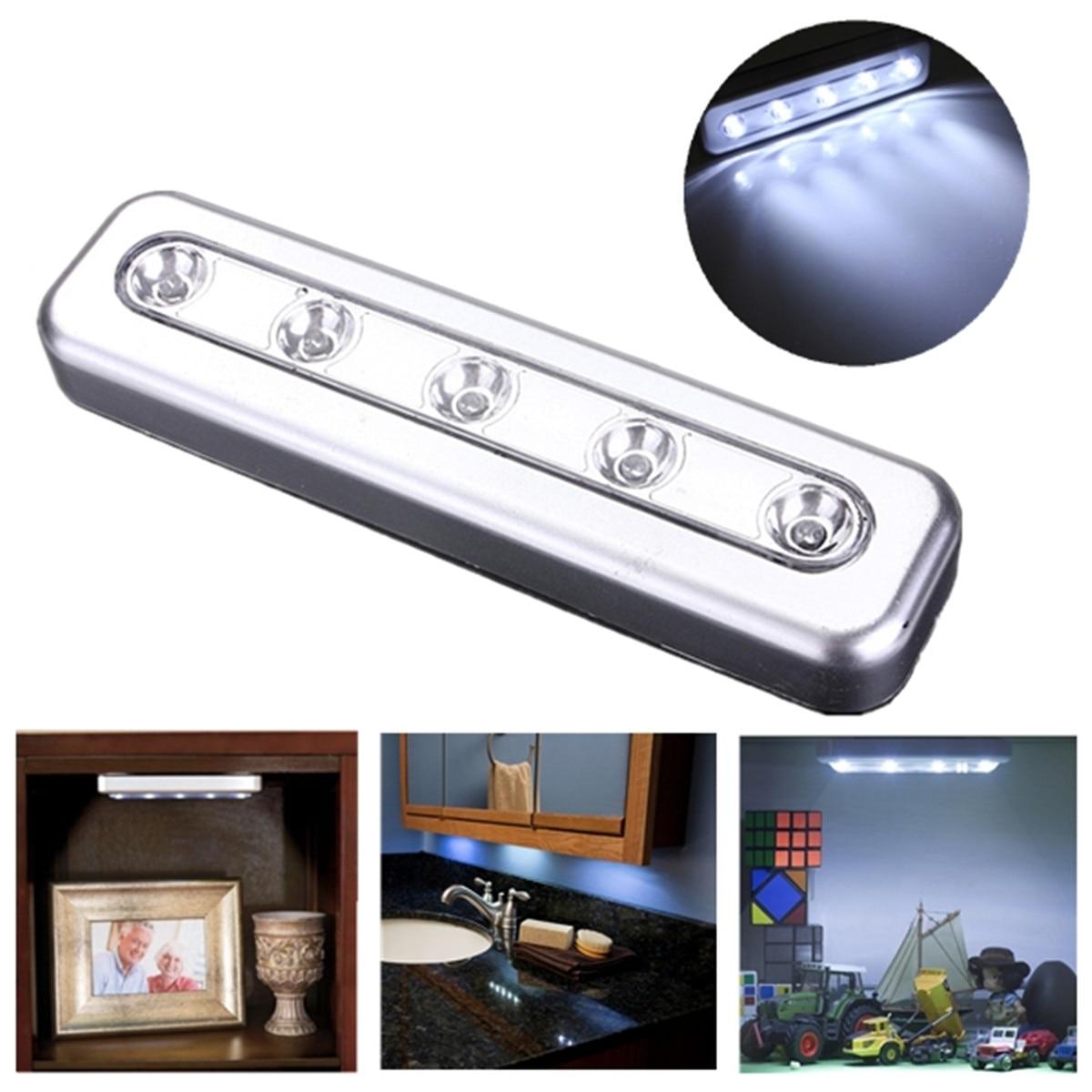 5 LED Self Stick Tap Light Tube Under Cabinet Push