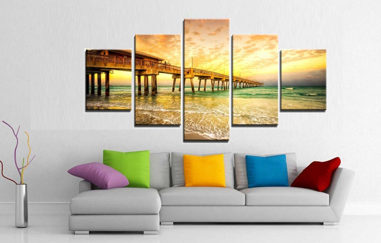 Seascape Sunset Canvas Print The Wooden Bridge Landscape Beach ...