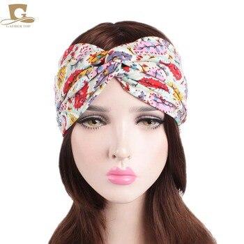 NEW Women Floral Bohemian Hippie Gypsy Turban Headband Soft Wide Headbands Retro Hair Accessory Bandeau Beach Accessory Summer headpiece