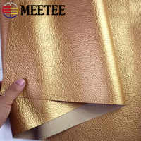 Meetee 50x139cm Gold PU Synthetic Leather Litchi Pattern for DIY Handbag Luggage Soft Home Textile Decoration Fabric SL213