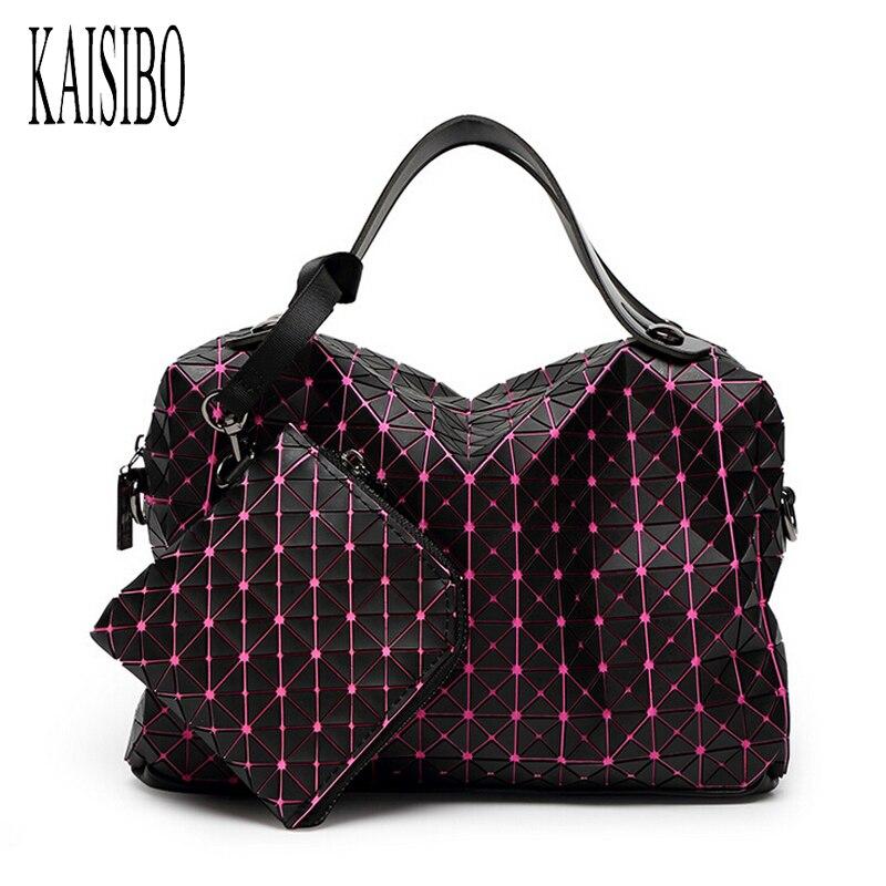 KAISIBO Women Large Capacity Boston Bag Geometric Diamond Lattice Woman Travel Handbags Folding Shoulder Messenger Bags мешочек для магнезии black diamond black diamond ultralight chalk bag белый medium large