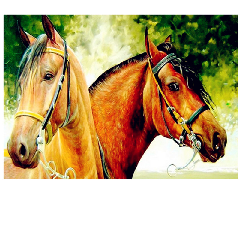 FULL Round/Square DIY Rhinestones diamond painting Two horses cross stitch diamond embroidery plastic crafts Animal painting