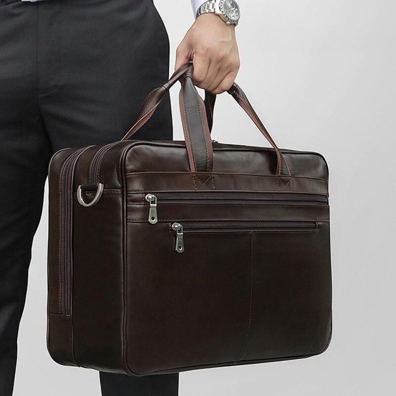 CONTACT'S Вместительная кожаная сумка в винтажном стиле для ноутбука 15.6 инч, может быть использована как дорожная сумка 2019 - 6