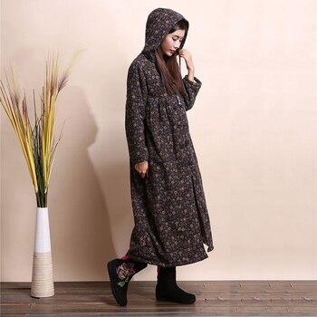 LZJN Fashion Winter Jacket Hooded Chinese Style Brushed Women Coat Mori Girl Wool Outerwear Small Flower Long Jacket Bayan Kaban 2
