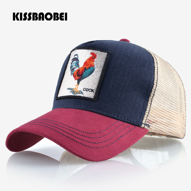 Cock Embroidery Baseball Cap Men Women Snapback Caps Breathable Mesh Hip Hop Hats Unisex Casual Eat Chicken Bone Casquette