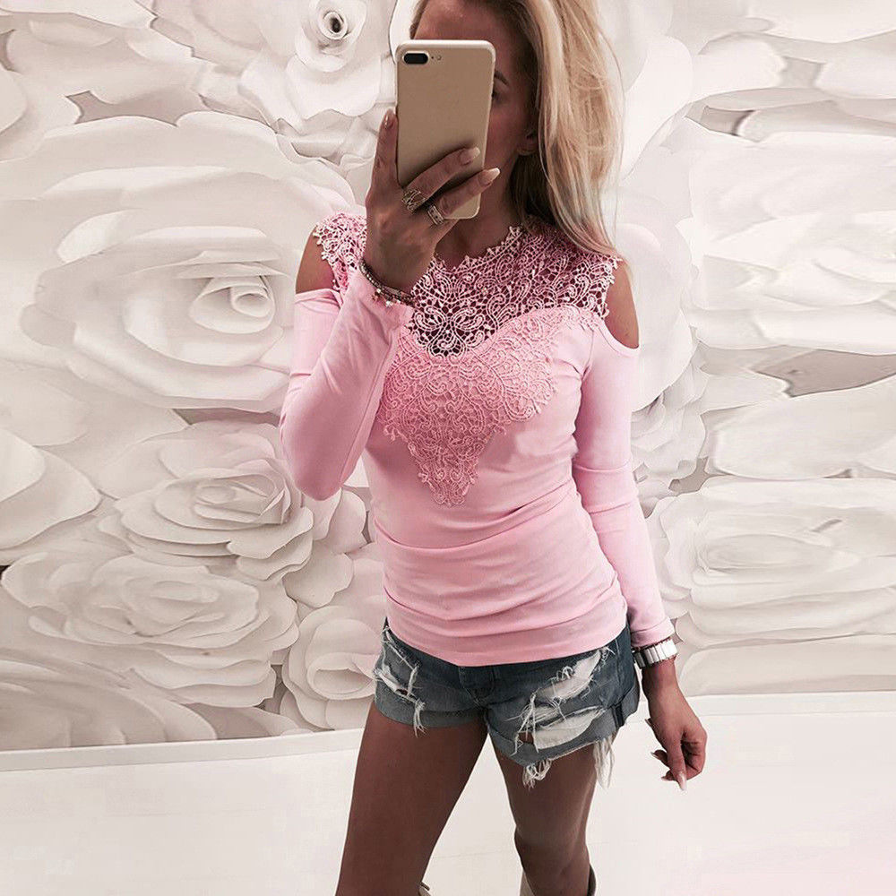 New Fashion Off Shoulder Patchwork Lace T Shirt Women O-Neck Soild Long Sleeve Top Shirt Sexy Slim Shirt Female Plus Size Tshirt