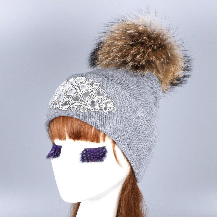b4fd6f8fd8f Dropwow mink and fox fur ball cap pom poms winter hat for women girl ...