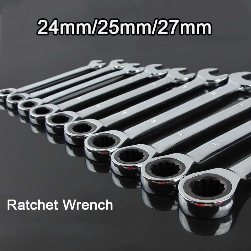 High Quality 24mm/25mm/27mm Reversible Ratchet Wrench Ratcheting Socket Spanner Nut Tool New F15-6 1pc reversible combination stubby ratchet wrench ratcheting socket spanner set 10 19
