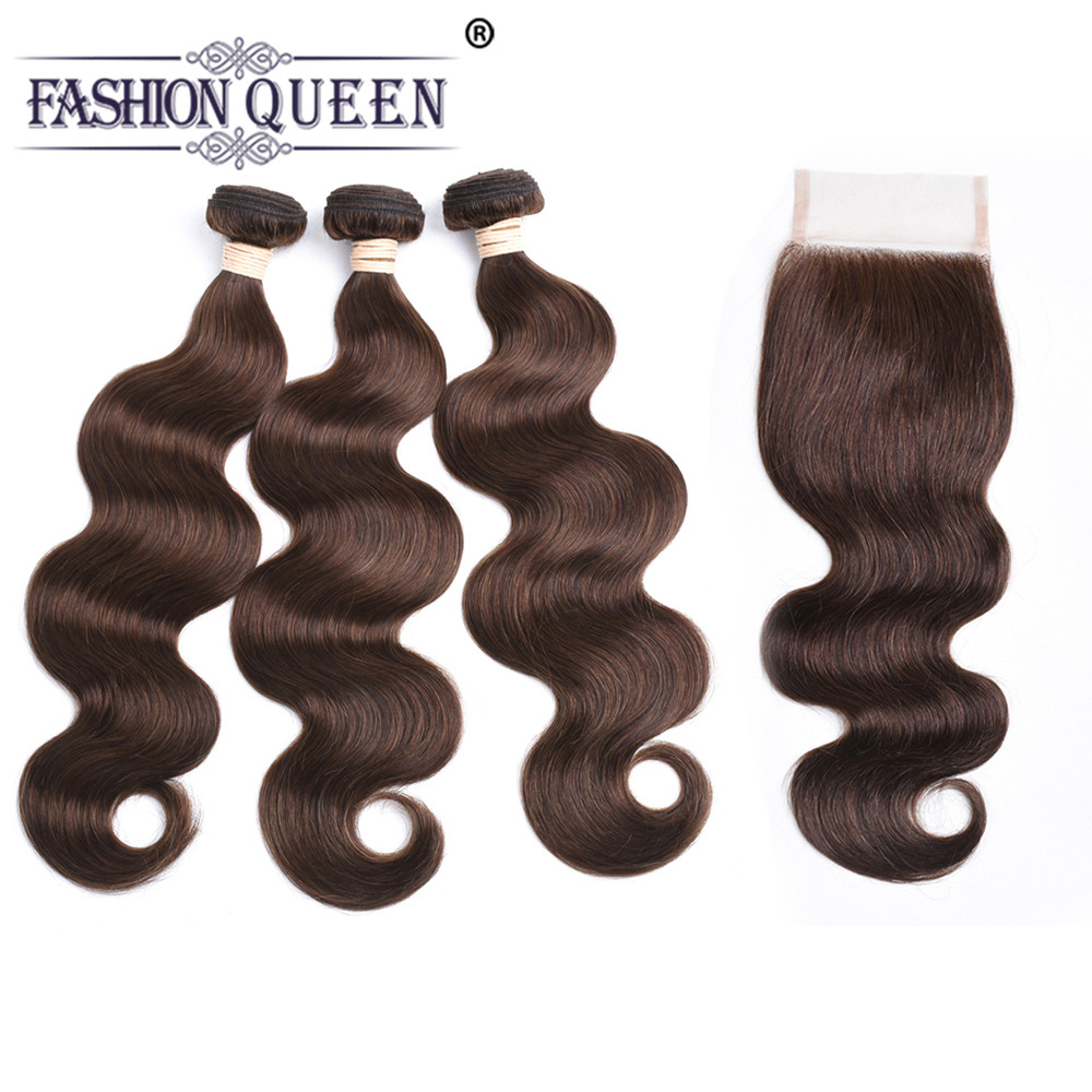 FASHION QUEEN Pre-Colored Human Hair Weave Bundles With Closure #4 Medium Brown Brazilian Body Wave Bundles With Closure