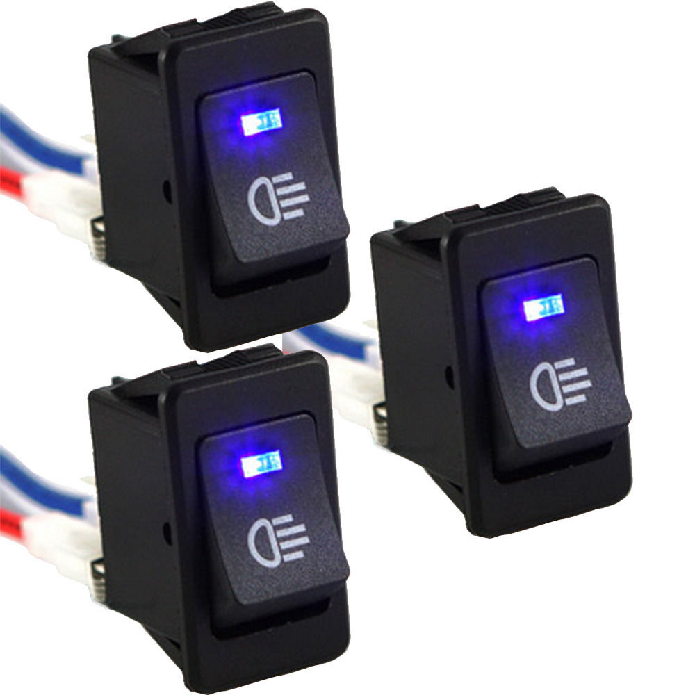 5 X 12V 35A Car Auto Fog Light Rocker Toggle Switch Blue LED Dashboard Sale