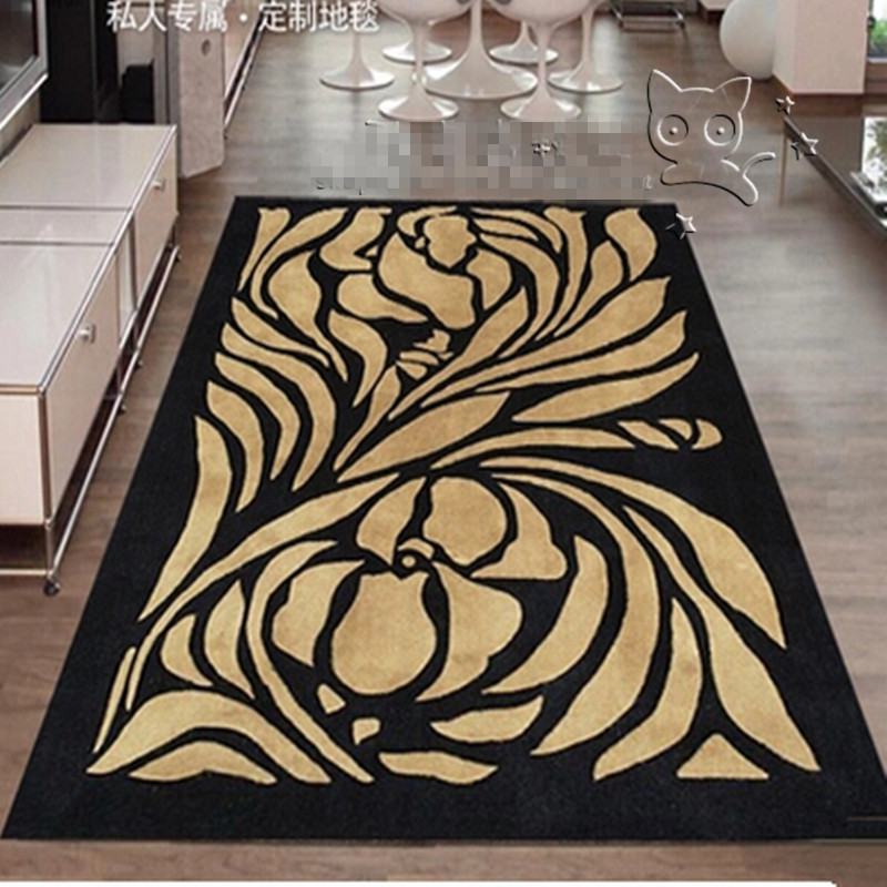 2016 New Arrival Flowers Black And Yellow Carpet Rugs And