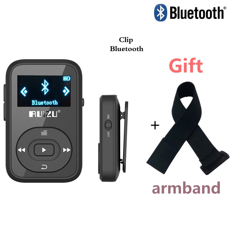 Mini Original RUIZU X26 Clip Bluetooth MP3-spelare 8GB Sport mp3 musikspelare med inspelare FM-radio Support TF Card + Gratis Armband