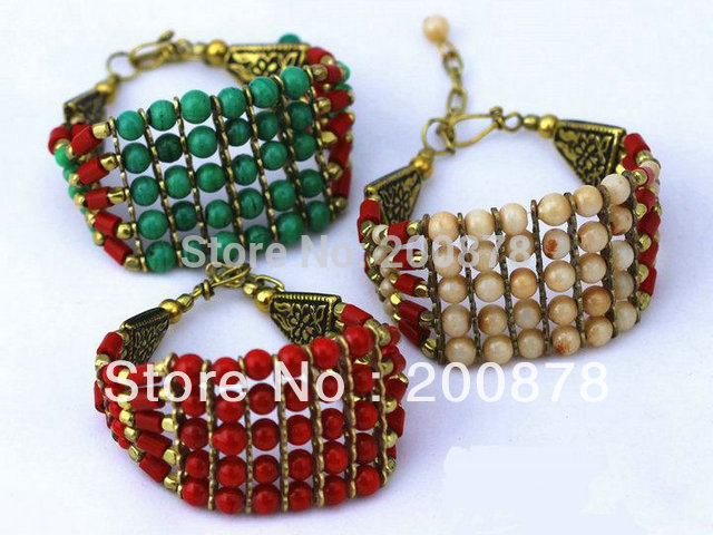 BB-067 Tibetan colorful beaded bracelet Nepal Indian Handmade Lampwork Glass Beads Girls bracelets