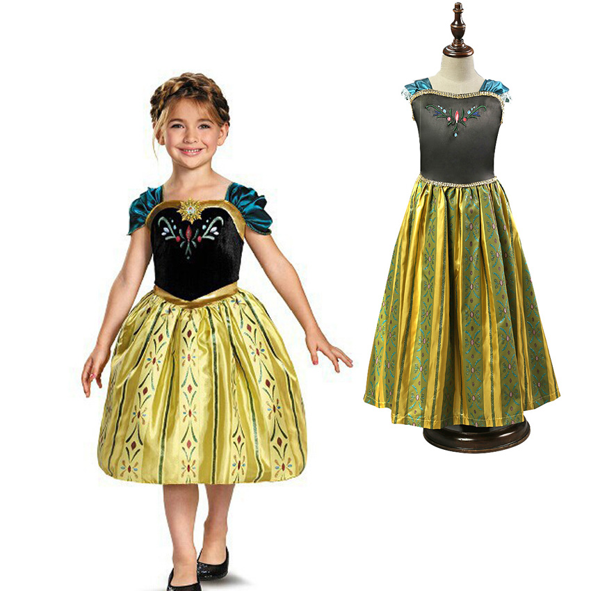 4-8Years Little Girls Princess Party Dress Halloween Fantasia Vestidos Fever Elsa Cosplay Costume Kids Clothes devil may cry 4 dante cosplay wig halloween party cosplay wigs free shipping