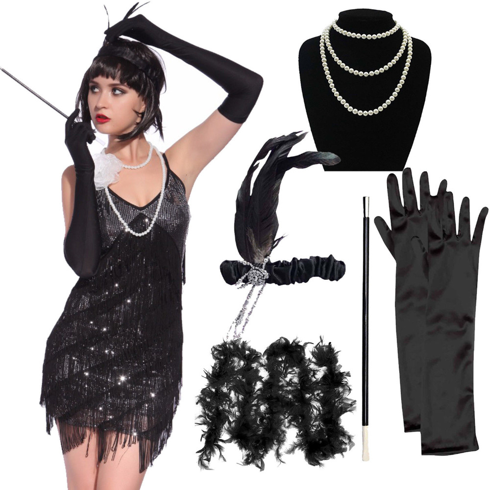 1920s Flapper Girl Costume Outfit Charleston Gangster Gatsby Roaring 20s Fancy Dress with 5pcs Accessories Set Hen Party Costume