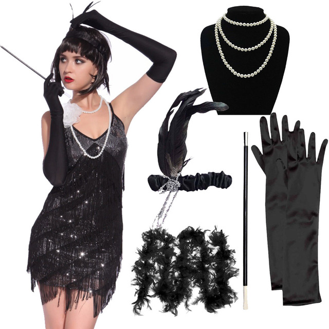 1920s Flapper Girl Costume Outfit Charleston Gangster ...