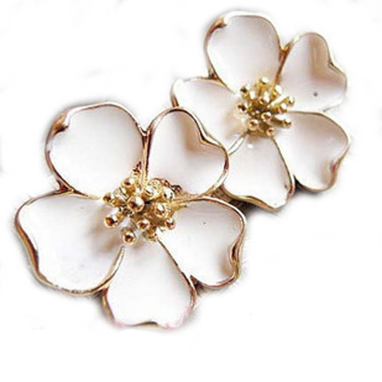 flower or gold white zirconia earrings bmd stud yellow cubic products