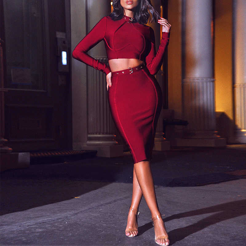 Ocstrade חדש 2019 אבזם תחבושת קשט שמלת נשים שתי חתיכה תחבושת שמלת סט ארוך שרוול 2 חתיכה תחבושת שמלה