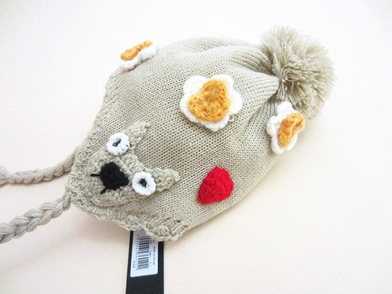 Blomstervinterhatte til babypige med øreflap Toddler Ugler Strikhæk Hat Babyfotografikestykker 0-6Y