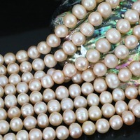 Orange 9 10mm Natural Freshwater Pearl Approx Round Jewelry Fashion Women Elegant Ceremony Gift Diy Loose
