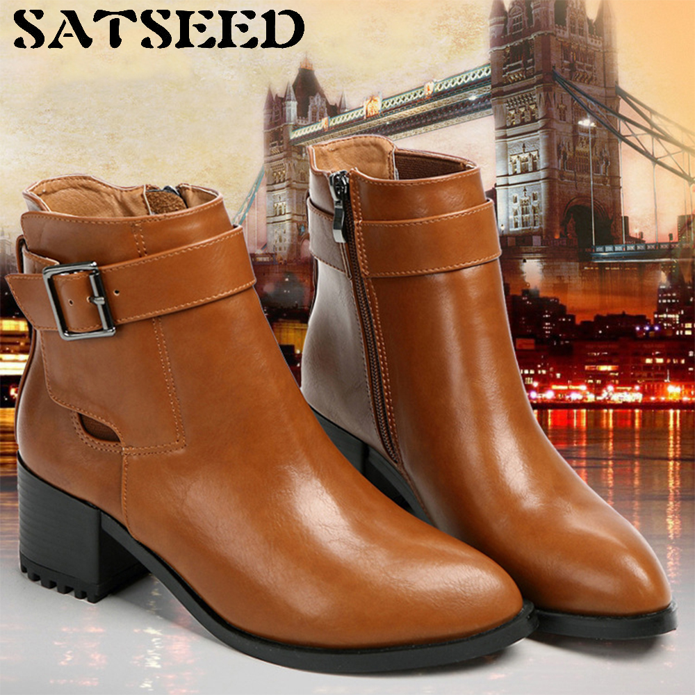 European American Female Autumn Winter 2017 Short Boots Naked Ankle Boot Thick Women's Shoes Martin Boots British Female Boots martin new winter with thick british style short canister female fall side zipper boots