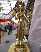 USPS a EE. UU. S0740 29 Tíbet Budismo Cobre Bronce Gild Cuatro Armado Kwan-yin de Guan yin Estatua de Buda (B0328)