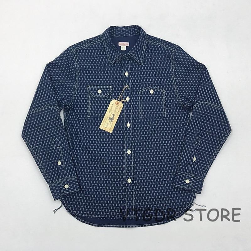 Erkek Kıyafeti'ten Rahat Gömlekler'de Bob Dong 1920 s Wabash Indigo Iş Gömlek Vintage Düğme Aşağı Uzun Kollu Casual Gömlek'da  Grup 1