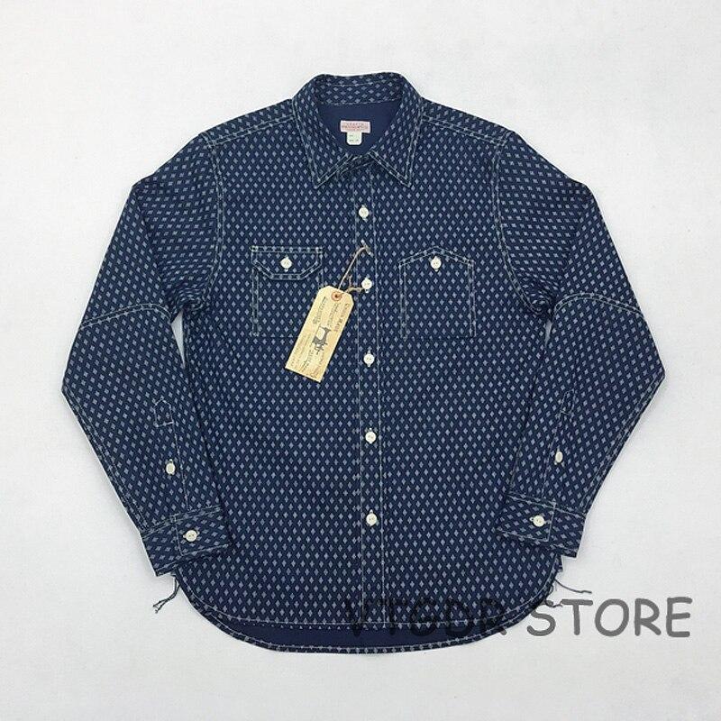 Bob Dong 1920 s Wabash indygo pracy koszula w stylu Vintage przycisk w dół z długim rękawem koszule w Koszule nieformalne od Odzież męska na  Grupa 1