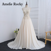 Mucielee Luxury Handmade Beading Chiffon Evening Dress Open Back Formal Gown 2017 Party Dress Long Robe