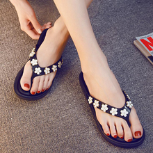 New 2019 Summer Beach Flip Flops Sandals Womens Slippers Floral Flat with Outdoor Casual Female Black Pink XL385