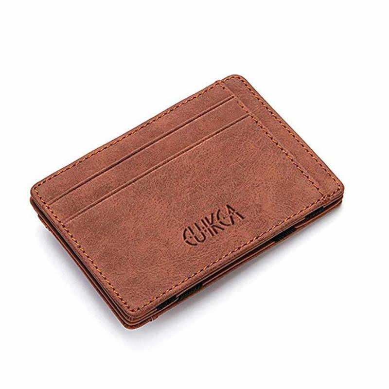 Mini cartera ultrafina para hombre, pequeña cartera de negocios de cuero PU, monederos mágicos, monedero de alta calidad, tarjetero, bolsa para tarjetas