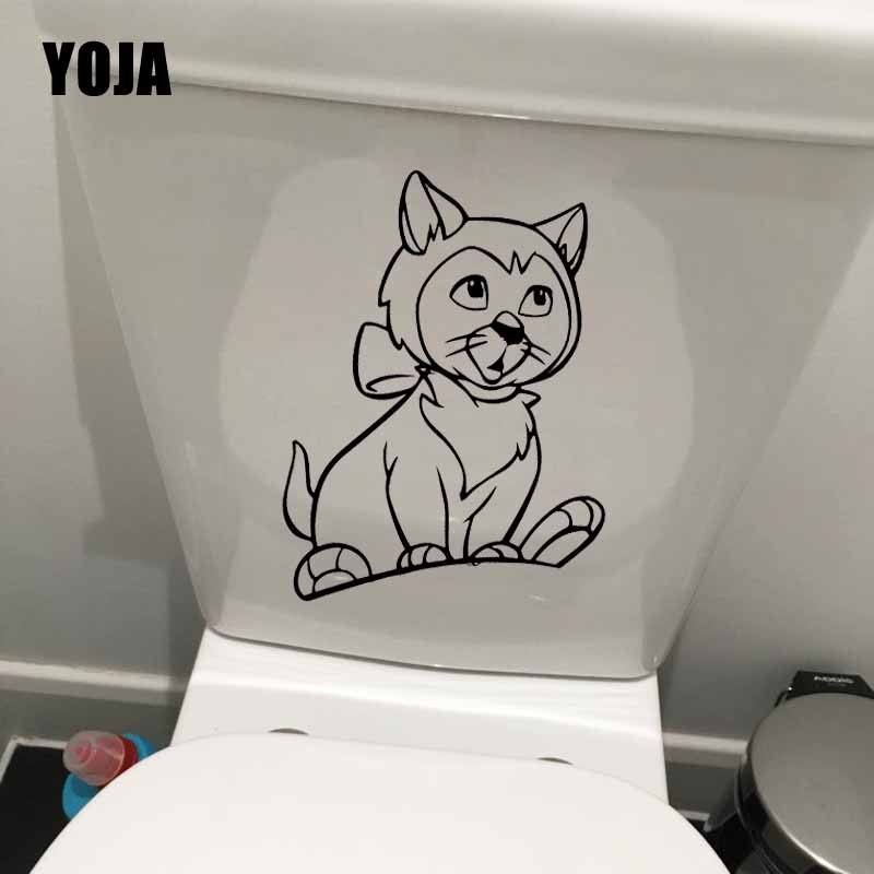 Home Impartial Yoja 17.2x23.8cm Wall Stickers Toilet Seat Decal Funny Cat Animal Cartoon For Kids Room Decor T5-0143 Volume Large