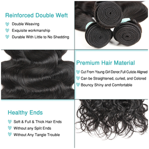 Image 4 - Ali graça cabelo peruano onda do corpo 100% cabelo humano com 4*4 parte média livre fechamento do laço pacote ofertas cor natural remy cabelo