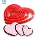 6 unids/set sello de plástico en forma de corazón torta del molde de la galleta del cortador de la galleta de azúcar craft cake decorations