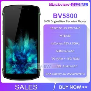 Image 2 - Blackview Bv5800 IP68 עמיד למים 5580mAh 4G 18:9 Smartphone 2GB 16GB 13MP NFC מגע מזהה נייד טלפון