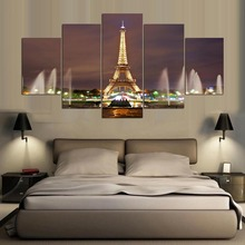 Canvas Painting Modern Art Live Wall Decoration 5 Panel Fountain And Building Eiffel Tower Landscape Pictures Painting YGYT