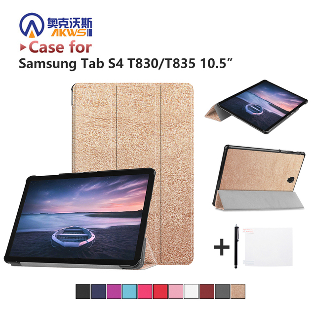more photos 9682c b2a53 US $9.74 25% OFF|Ultra Slim PU Leather Case Book Flip Cover for Samsung  Galaxy Tab S4 10.5 T830 T835 SM T830 SM T835 2018 Tablet Auto Wake Sleep-in  ...