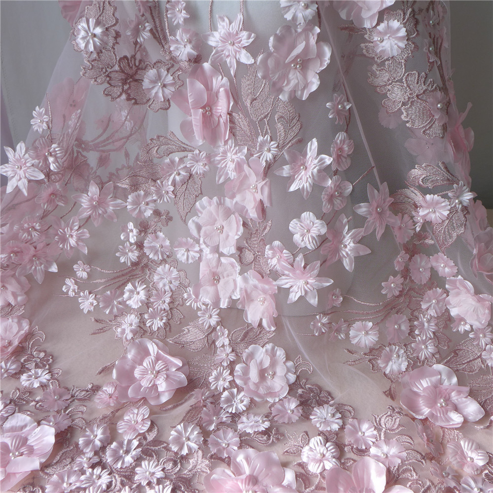 130cm Wide Wedding Dress Tulle Lace Fabric In Pink 3D Embroider Fabric Flowers With Pearl Beaded Sell By Yard