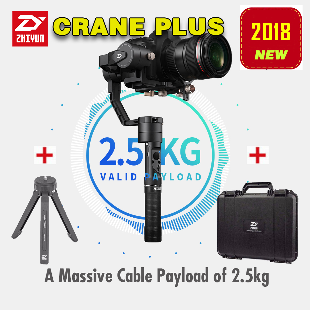 2018 Newest Zhiyun Crane Plus 3-Axis Handheld Gimbal Stabilizer for Mirrorless DSLR Camera Support 2.5KG POV Mode bestablecam h4 rtf brushless handheld encoder mirrorless digital camera gimbal gyro stabilizer for gh3 gh4 a7s nex5 bmpcc