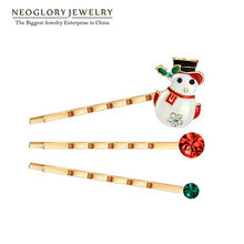 Neoglory Rhinestone Snowman Baby Girl Hairwear for Women Rose Gold Color Jewelry Charm 2017 Fashion Christmas Gift XMAS W1(China)