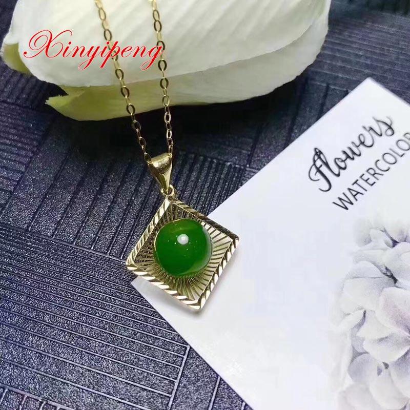 Xin yi peng 18 k yellow gold inlaid natural jade pendant women Beautiful and easyXin yi peng 18 k yellow gold inlaid natural jade pendant women Beautiful and easy
