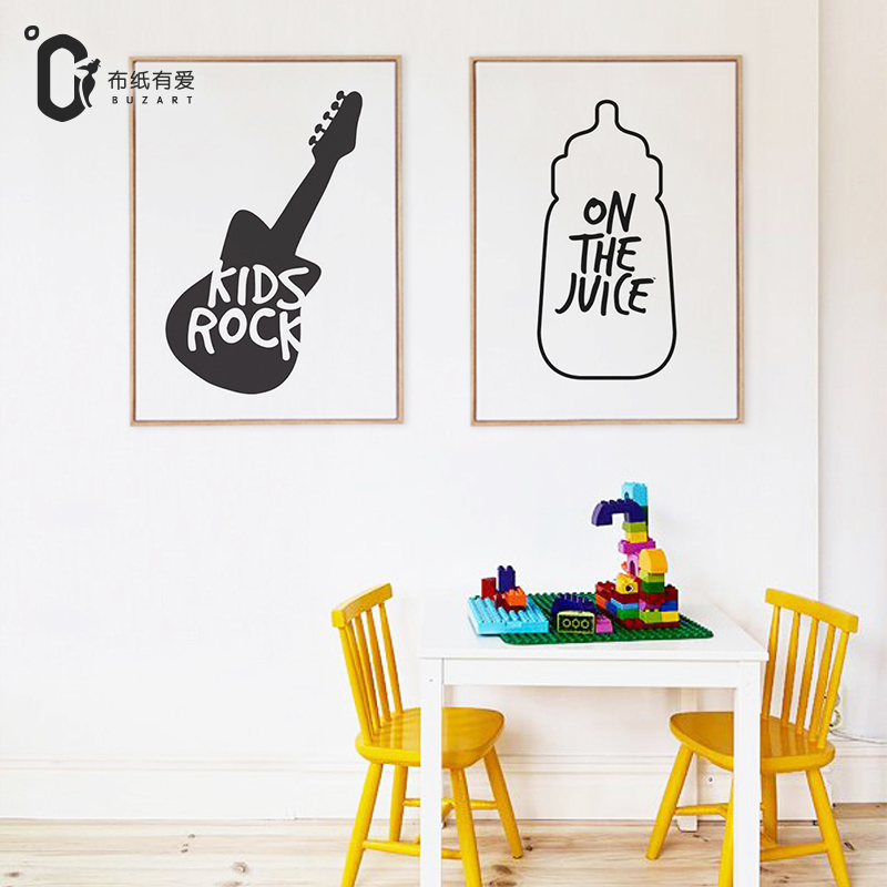 Kids rock  Wall art poster and print Nordic Black and white Home decoration for children room NO Frame