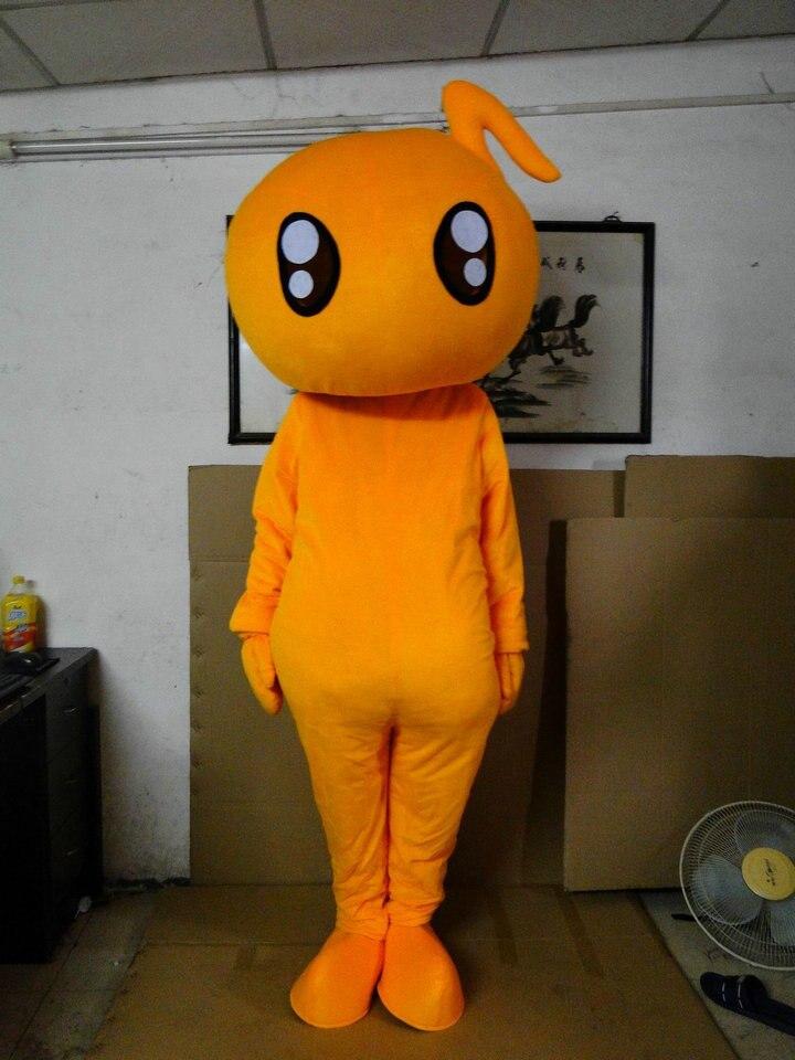 Orange écouteur musique poupée mascotte costumes offre spéciale costumes de fête