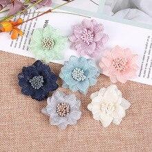 10Pcsชีฟองประดิษฐ์ดอกไม้ทำด้วยมือDIYผ้าดอกไม้สำหรับงานแต่งงานหัตถกรรมบ้านDIYตกแต่ง