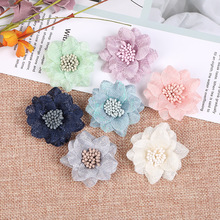 Flor artificial de chiffon, flores feitas à mão em tecido diy para casamento, festas, artesanato, decoração de casa, faça você mesmo com 10 peças