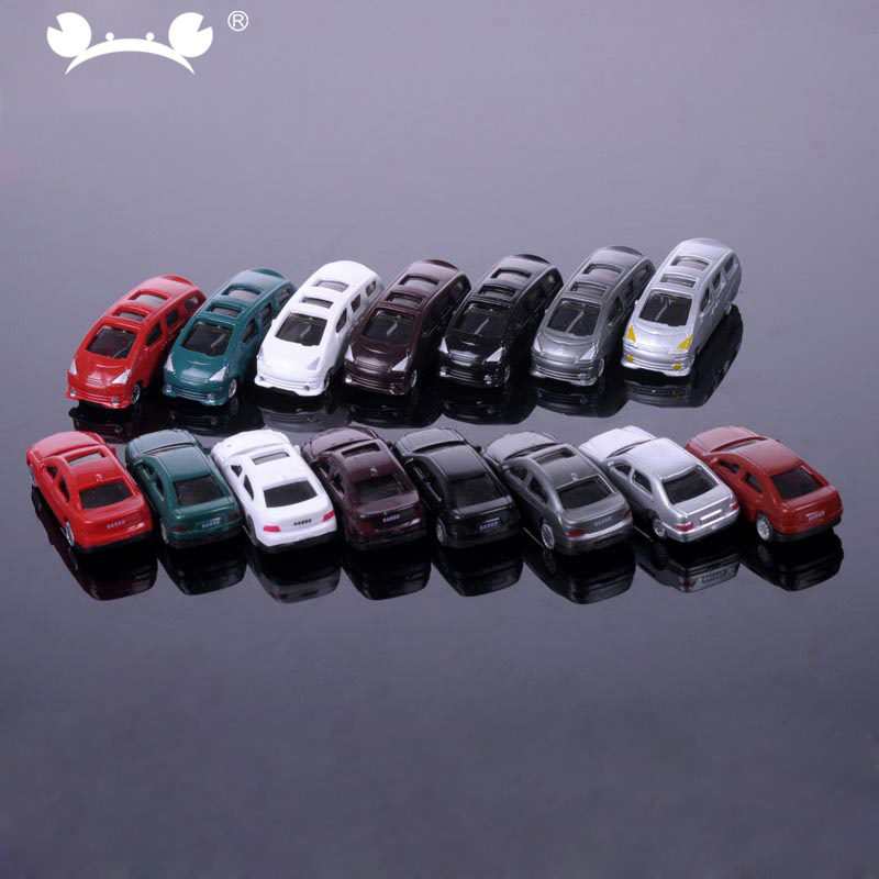 50pcs/lot 1/200 Scale Plastic Model Car Miniatures For Model Building Materials Train Layout Railway Modeling Car